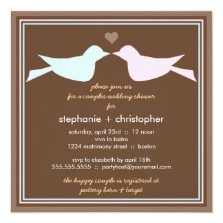 "Happy Love Birds Couples Wedding Shower Invitation 5.25"" Square Invitation Card"