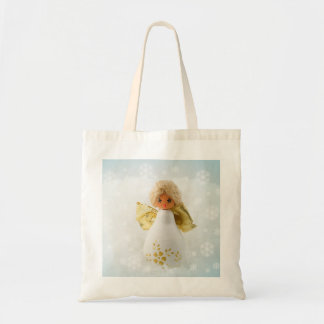 Happy Love Christmas Angel Snow Tote Bag