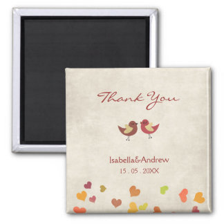 Happy Love Wedding Thank You 2 Inch Square Magnet