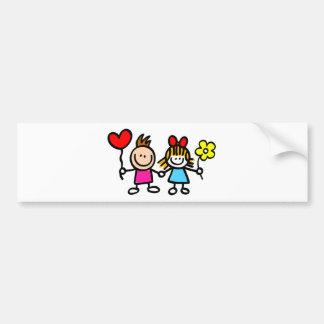 happy lover children with heart shape balloon bumper sticker