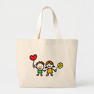 happy lover children with heart shape balloon large tote bag