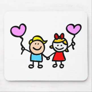 happy lover children with heart shape balloon mousepad