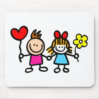 happy lover children with heart shape balloon mouse pads