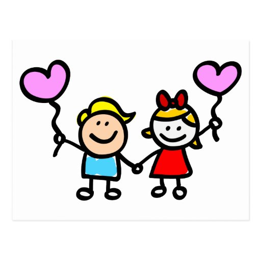 happy lover children with heart shape balloon postcard