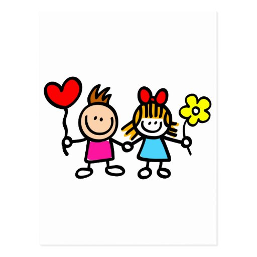 happy lover children with heart shape balloon postcard