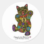 Happy Lucky Black Cat Sticker