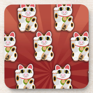 Happy Lucky Cat Pattern Beverage Coaster