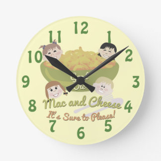 Happy Mac and Cheese Time Round Clock