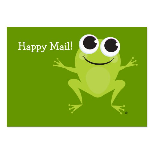 """Happy Mail"" Cute frog card - Fun Gift Ideas! Large Business Cards (Pack Of 100)"