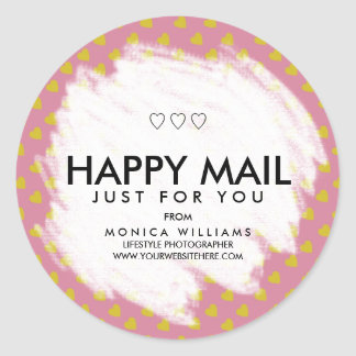Happy Mail Personalized Heart Sticker or Seal