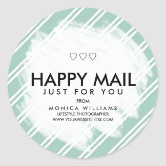 Happy Mail Personalized Striped Sticker or Seal