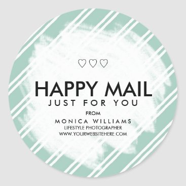 Professional Business Happy Mail Personalized Striped Sticker or Seal