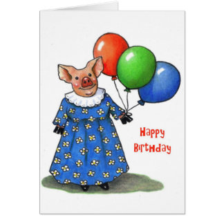 Happy Mama Pig With Balloons: Color Pencil Card