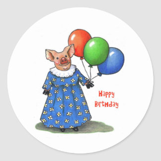 Happy Mama Pig With Balloons: Color Pencil Classic Round Sticker