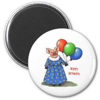 Happy Mama Pig With Balloons: Color Pencil Refrigerator Magnet