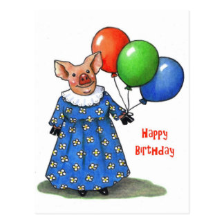 Happy Mama Pig With Balloons: Color Pencil Postcard
