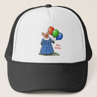Happy Mama Pig With Balloons: Color Pencil Trucker Hat
