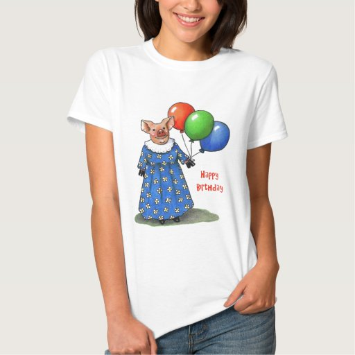 Happy Mama Pig With Balloons: Color Pencil Tee Shirt