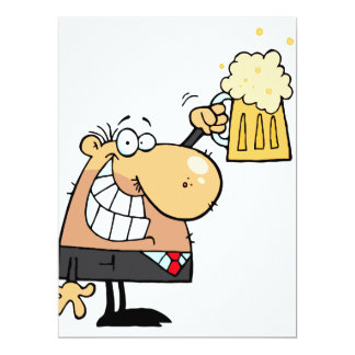 happy man cartoon celebrating with beer 6.5x8.75 paper invitation card