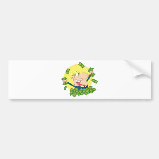 Happy Man in a pile of money Bumper Sticker