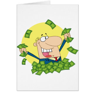 Happy Man in a pile of money Card