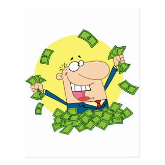Happy Man in a pile of money Postcard