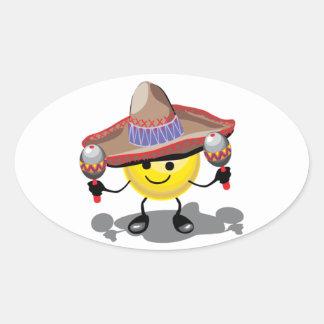 Happy Maraca Player Oval Sticker