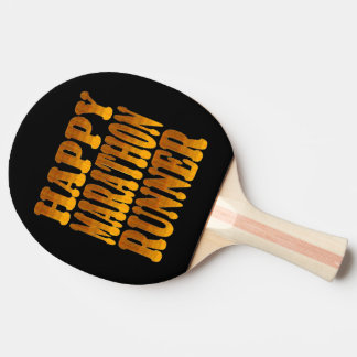Happy Marathon Runner in Gold Ping-Pong Paddle
