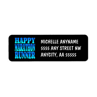 Happy Marathon Runner Label