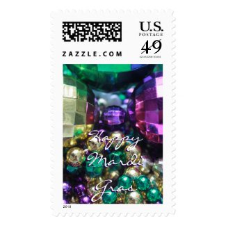 Happy Mardi Gras Bead Throws Custom Postage Stamp
