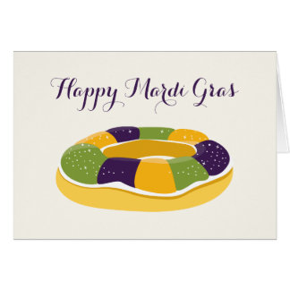Happy Mardi Gras King Cake Fat Tuesday Card