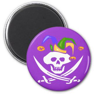 Happy Mardi Gras Pirate 2 Inch Round Magnet