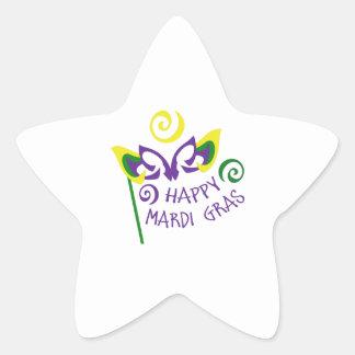HAPPY MARDI GRAS STAR STICKER