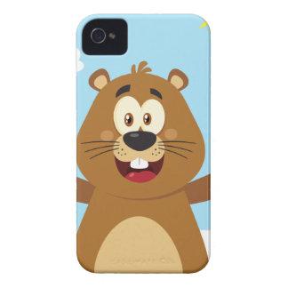 Happy Marmot Cartoon Mascot iPhone 4 Cover