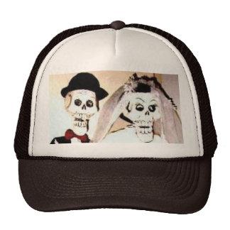 Happy Married Skeleton Couple Baseball Trucker Hat