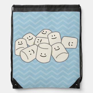 Happy Marshmallow buddies sticky puff sweet friend Drawstring Bag