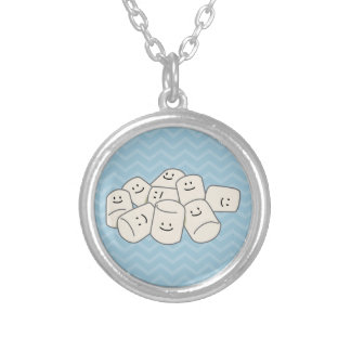 Happy Marshmallow buddies sticky puff sweet friend Silver Plated Necklace