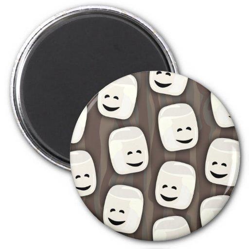 Happy Marshmallow Friends Pattern 2 Inch Round Magnet