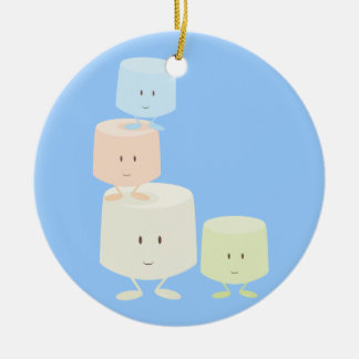 Happy marshmallows ceramic ornament