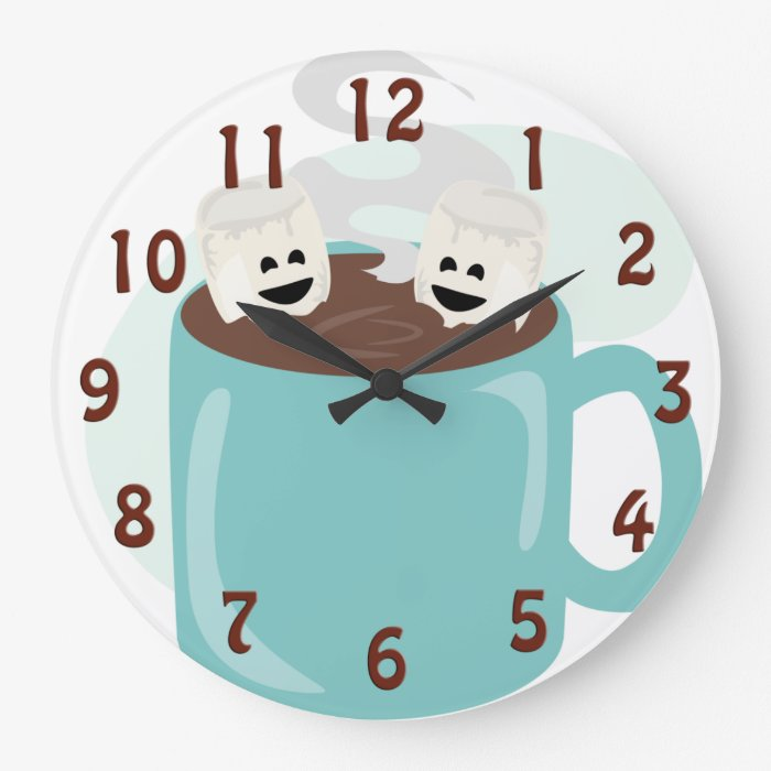 Happy Marshmallows in Cocoa Large Clock