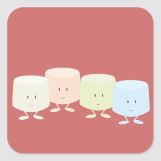Happy marshmallows standing together stickers