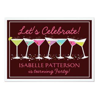 Happy Martinis Milestone Birthday Party Invitation