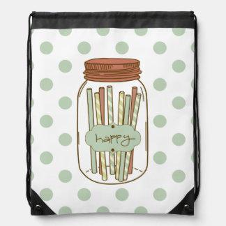 happy mason jar and straws drawstring backpack