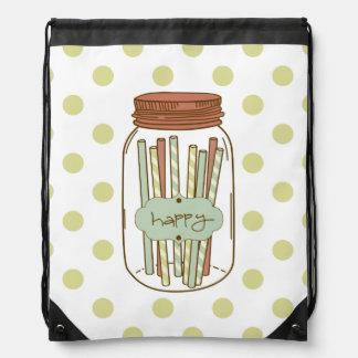 happy mason jar and straws drawstring bag