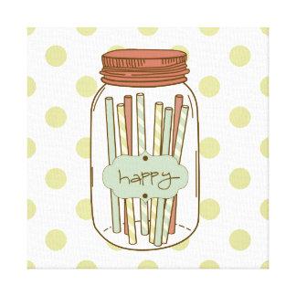 Happy mason jar and straws wrapped canvas