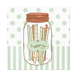 Happy mason jar and straws wrapped canvas