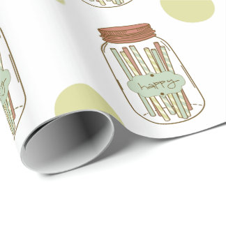 Happy mason jar and straws wrapping paper