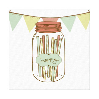 Happy mason jar & banner wrapped canvas