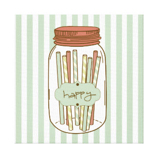 Happy mason jar & straws wrapped canvas