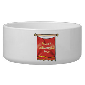 Happy Memorial Day Banner Dog Food Bowl